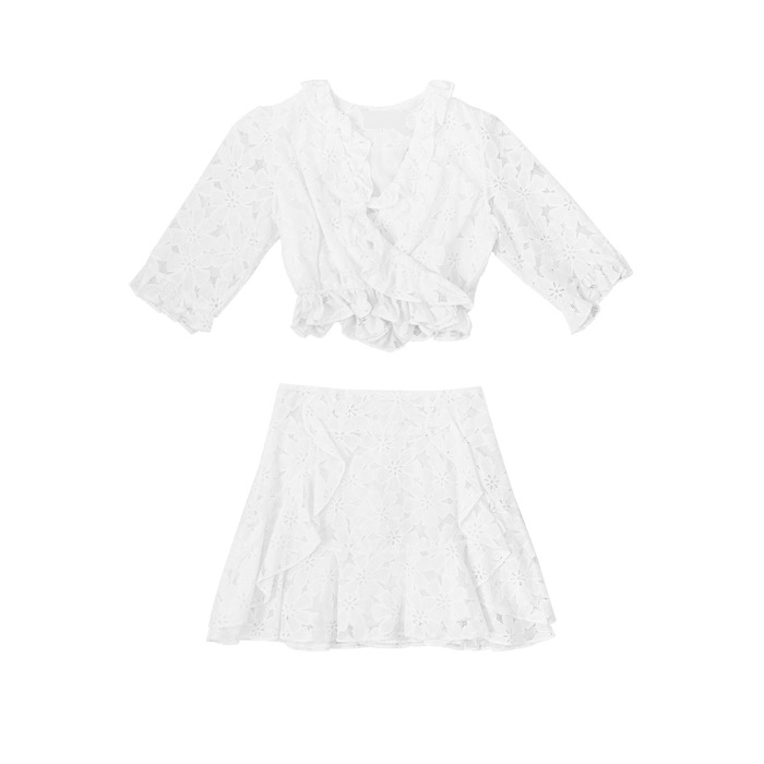 flower frill puff two-piece set